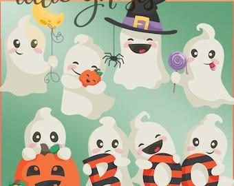 Halloween Clipart Ghosts - Digital PNG Art