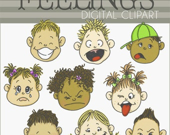 Feelings Clipart Set -Personal and Limited Commercial Use- Emotions clipart, happy kids, sad kids