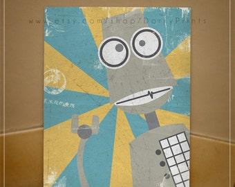Gray Robot Printable Art - PDF Printable File - fun kids room decor