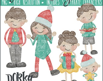 Watercolor Christmas Family Characters PNG Artwork - Digital File - for heat press, planners, cookies, and crafts
