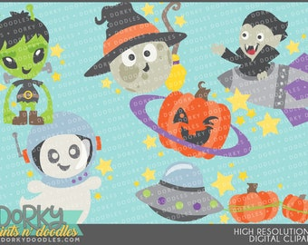 Outer Space Halloween Clipart - Digital PNG Art
