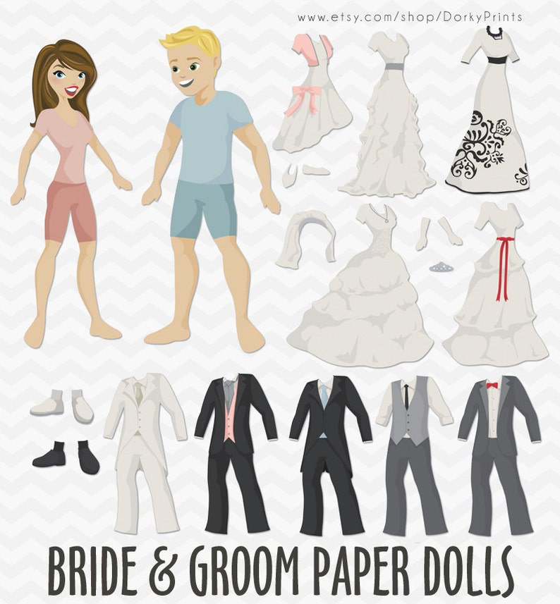 photo about Printable Paper Dolls called Wedding day Paper Dolls PDF - printable paper dolls - Bride and Groom, Connection