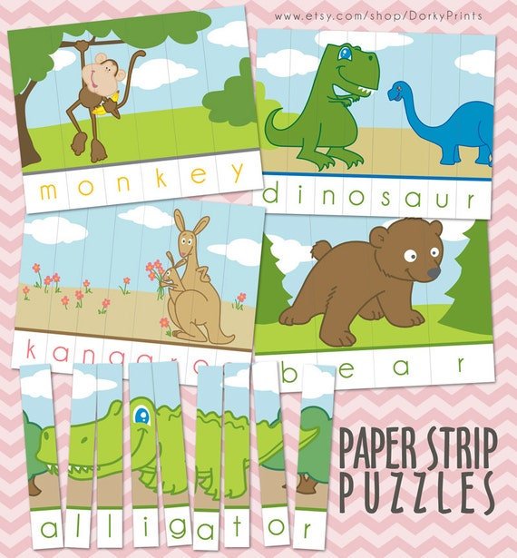graphic regarding Printable Puzzles for Preschoolers referred to as Animal Printable Puzzles PDF - preschool printable - kindergarten printable - Early Finding out Record - Quick Down load