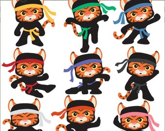 Ninja Clipart -Personal and Limited Commercial- Tiger Ninjas Clip art