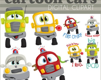 Cars Clipart -Personal and Limited Commercial- Fire Truck, Police Car, School Bus, Big Truck - car clip art
