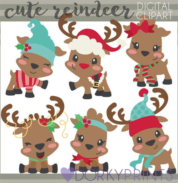 christmas clipart cute reindeer personal and limited etsy christmas clipart cute reindeer personal and limited commercial use santa reindeer clip art