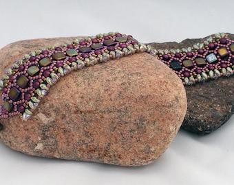 Elegant Beadwoven Bracelet - Burgundy and Greens