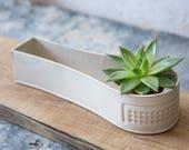 White Ceramic planter, Minimalist Planter, Succulent planter, Cacti planter, Modern planter, Air plant holder, Indoor Planter,Gardening Gift
