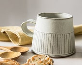Ceramic Tea Cup, Modern Tea mug, White ceramic cup, White Coffee Mug with a straight lines Pattern