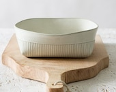 READY TO SHIP - White Ceramic Baking Dish, Pottery Serving Dish, Square Modern Lasagna Dish, Elegant Deep Rustic Casserole