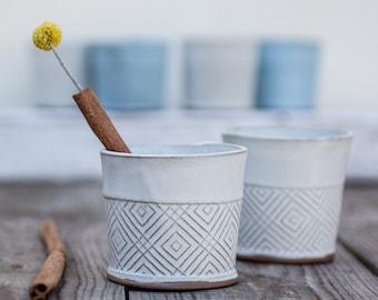 Ceramic Espresso Cup, coffee lovers gift, Espresso Cups in white Geometric Pattern, Ceramic tumbler, White tea mug, Unique pottery cup