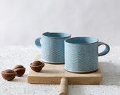 Blue Ceramic Mugs, Light Blue Coffee Mugs, Modern Mugs, Stoneware Coffee Mugs, Ceramic Handmade Mugs, Unique Blue Coffee Mug, SET OF TWO