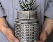 Ceramic Planter, Gray succulent planter, Modern ceramic plant pot, Cactus planter pot, Gray Geometric planter, Air Plant Pot, Indoor planter
