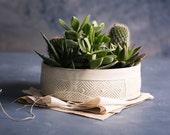 Planters and Pots, Succulent planter, Ceramic white planter, Planter pot, Geometric pattern planter, Large plant pot, Modern pottery planter