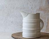 Ceramic Pitcher, White Water Pitcher, Ceramic Water jug,  Serving Pitcher, White Stoneware Jug, White Pottery Pitcher, Modern ceramic carafe