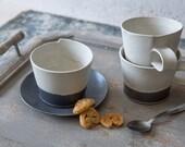 Large Coffee Cup, Modern Ceramic Cup with a Saucer, Black & white Coffee Mug, Minimalist Mug, Cappuccino Mug, Pottery Coffee Lovers Gift