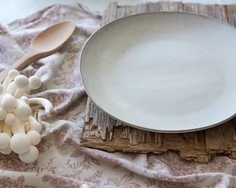 2 Ceramic Plate Set, White Dinner Stoneware Plates, White Pottery Dinnerware Set, White Ceramic Dinnerware, Couples Gift Idea