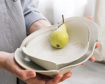 White Ceramic Plate Set, Ceramic Serving platter, Ceramic nesting set, White serving dish,Modern Serving trays,Decorative trays,Housewarming