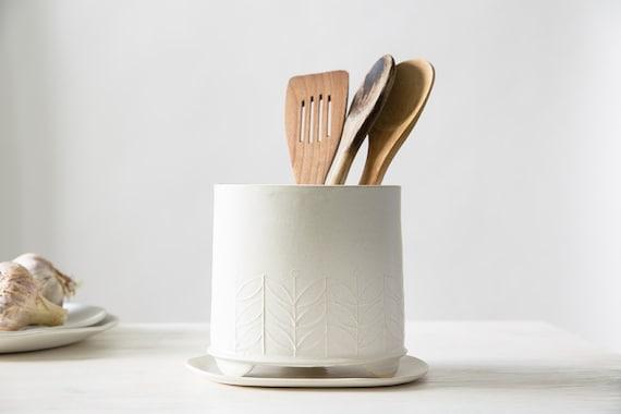 Ceramic Utensil Holder, White Storage Pot, Modern Kitchen Crock Holder,  Minimalist Stylish Vase, Modern Scandinavian Kitchenware