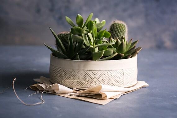 White Ceramic Planter Large Succulent Planter Pot Modern Etsy