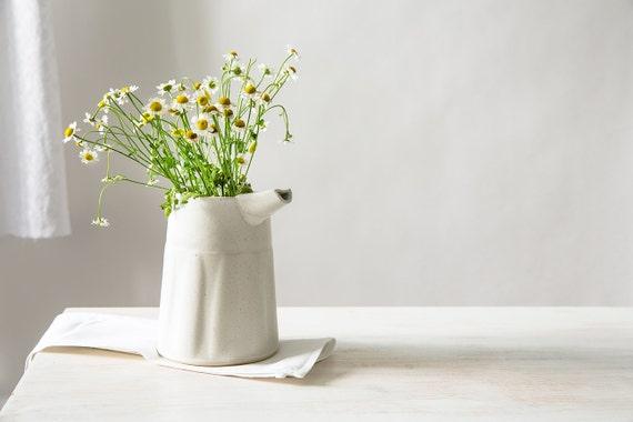 White Ceramic Vase Modern Flower Vase Etsy