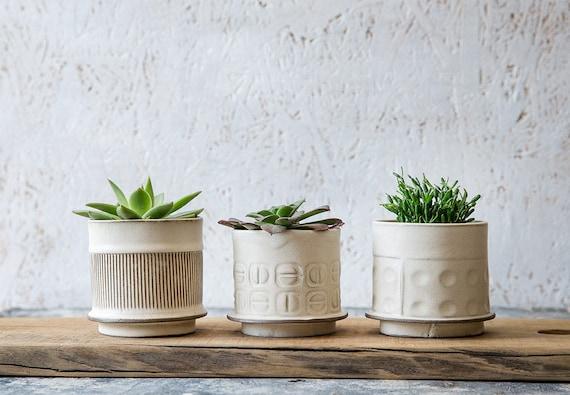 White Ceramic Planter Small Ceramic Planter Succulent Etsy