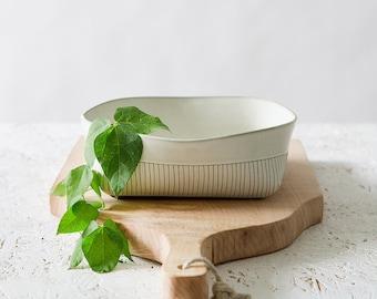 White Ceramic Bowl, Ceramic Serving Bowl, Minimalist Square Bowl, Modern Salad Bowl, White Stoneware Bowl, Decorative White Bowl,Rustic Bowl