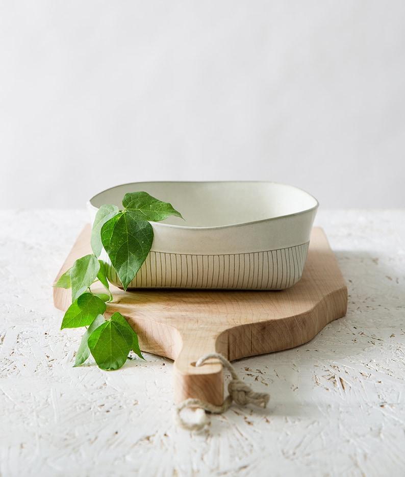White Ceramic Bowl Ceramic Serving Bowl Minimalist Square image 0