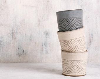 Geometric Engraved Ceramic Espresso Cups Set, 2 White Tea Cups, Modern Ceramic Tumbler, Handmade Pottery Wedding Gift