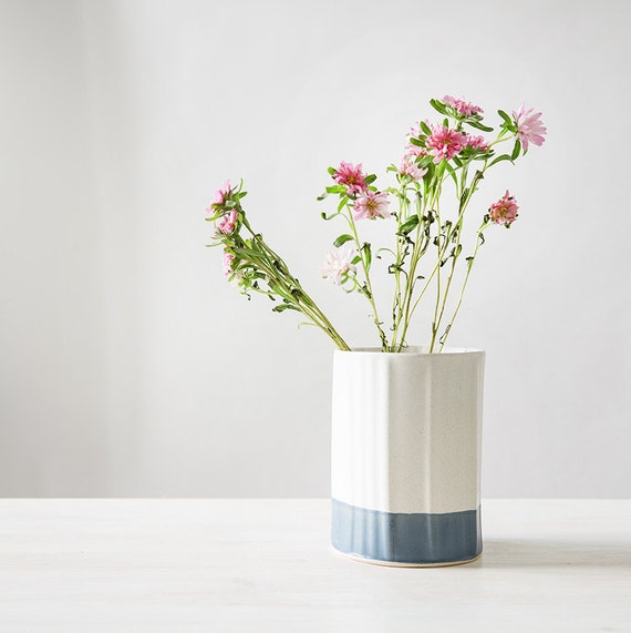 Keramik Vase blau und weiß-Blumentopf moderne Keramik | Etsy