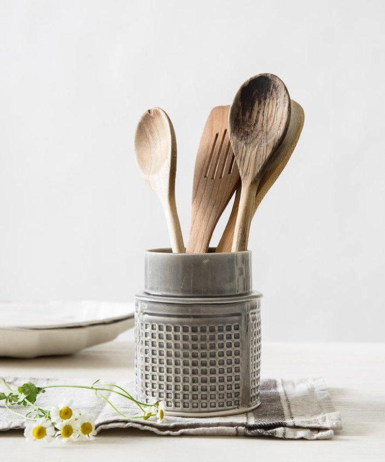 Ceramic Utensil Holder, Ceramic Kitchen Utensils, Light Gray Utensil Jar,  Modern Pottery Gift, Kitchen Crock Holder, Gray Storage Container