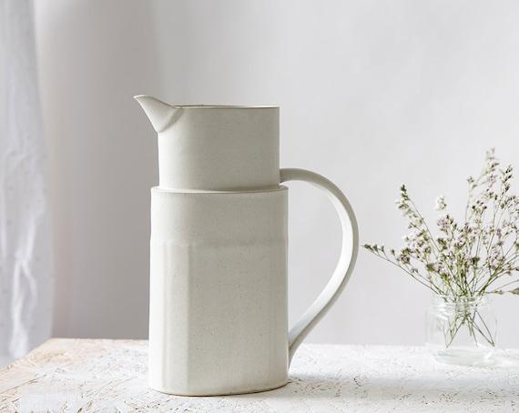 Ceramic Jug White Ceramic Pitcher Ready To Ship Modern Water Etsy