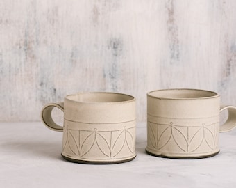 white Ceramic mug, Modern tea cups, SET OF TWO