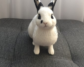 Custom Needle felted 100% wool / Sculpture Memory Pet Portrait Pet replica Rabbit / Bunny