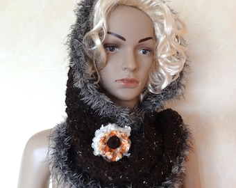 Brown fancy women, knitted and crocheted hooded scarf.