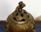 Vintage Asian zodiac censer gilt incense burner astrological rat incense burner year of the rat Japanese incense burner tripod.