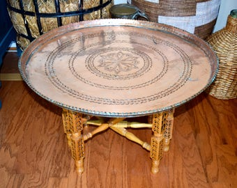 Vintage Copper Tray Table With Folding Wood Base...etched Copper Coffee  Table.