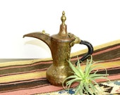 Vintage etched brass Dallah Arabic coffee pot engraved brass Dallah signed Amman, Jordan 1990 historical relevance in description.