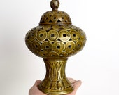 Vintage brass censer Chinese lucky coin incense burner I Ching coin wealth vase Feng shui money cure good luck cure.