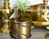 Vintage brass box with snake accents oval brass box with snake wrap.