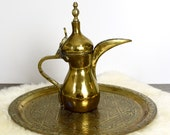 Vintage to antique brass Dallah Arabic coffee pot large brass Dallah brass Dallah Middle Eastern Dallah signed.