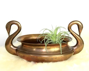 Vintage brass planter with swan's head handles...brass jardiniere...brass bowl with swan handles.