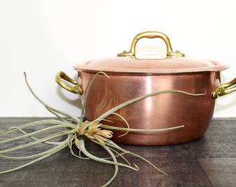 Vintage Italian copper sauce pot...copper butter warmer...tin lined copper pan...small copper pan...made in Italy.