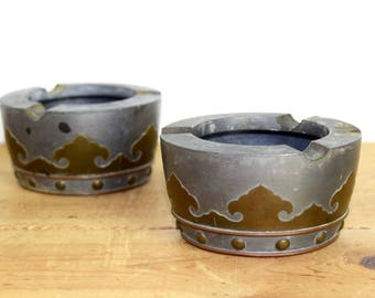 Vintage Chinese ashtrays...Chinese pewter and brass ashtrays...