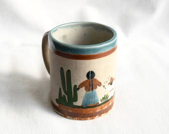 Vintage Mexican mug…Mexican coffee mug...hand painted...made in Mexico.