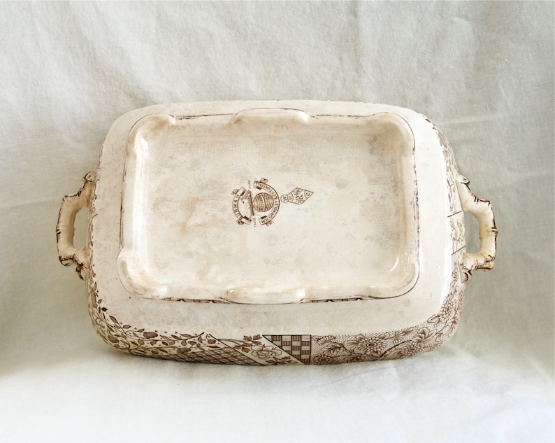 Antique Burmah WH Grindley and Co Tunstall vegetable bowl...c.1880-1891\u2026rare.