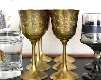 Vintage brass wine glasses...6 small wine glasses etched with Saudi Arabia on one side and flowers on other...made in Pakistan.