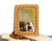 Vintage wicker framed mirror wicker mirror hang horizontally or vertically Hollywood Regency boho.