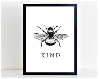 Bee Kind INSTANT DOWNLOAD Print Wall Art Poster Printable Shabby Chic