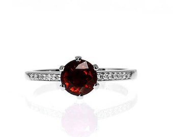 Garnet engagement ring, solitaire, white gold ring, red engagement ring, diamond ring, garnet wedding, micro pave, unique, red engagement